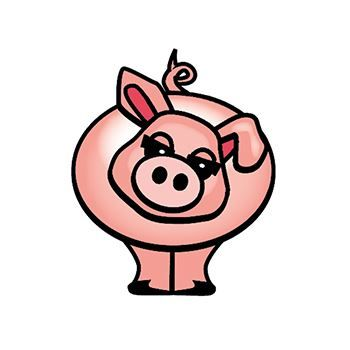 Pink Pig Design Water Transfer Temporary Tattoo(fake Tattoo) Stickers NO.13559