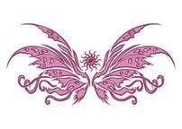 Pink Tribal Butterfly Design Water Transfer Temporary Tattoo(fake Tattoo) Stickers NO.13562