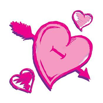 Pink Valentines Hearts Design Water Transfer Temporary Tattoo(fake Tattoo) Stickers NO.13466