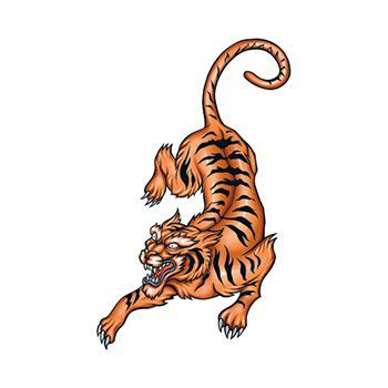 Pouncing Tiger Design Water Transfer Temporary Tattoo(fake Tattoo) Stickers NO.13573