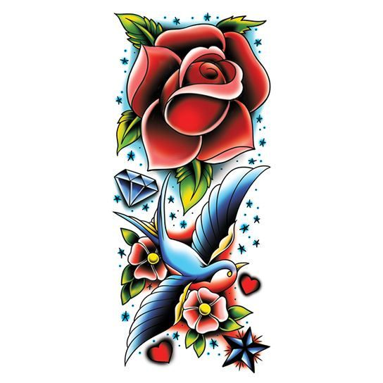 Rose and Sparrow Colorful Sleeve Design Water Transfer Temporary Tattoo(fake Tattoo) Stickers NO.12652