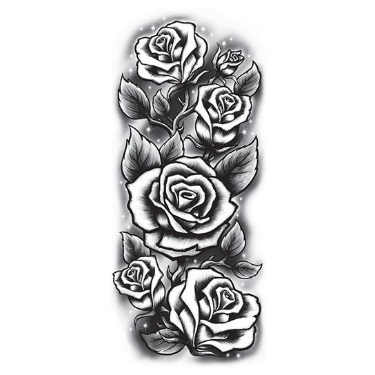 Roses Sleeve Black & White Design Water Transfer Temporary Tattoo(fake Tattoo) Stickers NO.12650