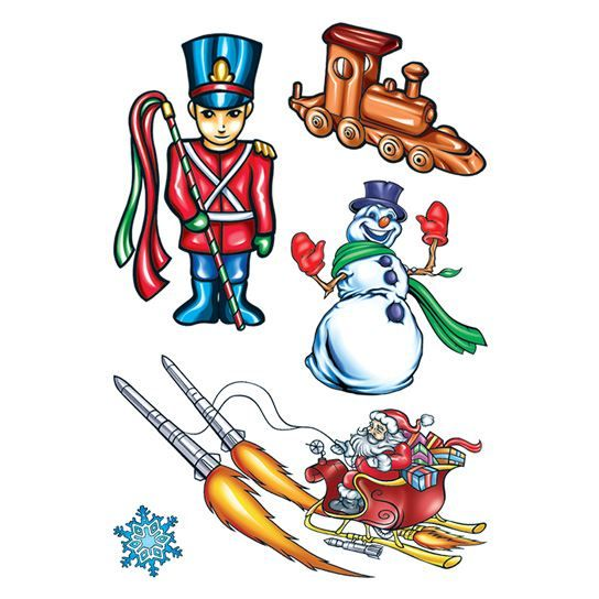 Santa's Rocket Christmas Sheet Design Water Transfer Temporary Tattoo(fake Tattoo) Stickers NO.12895