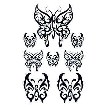 Set of Tribal Butterflys Design Water Transfer Temporary Tattoo(fake Tattoo) Stickers NO.13622