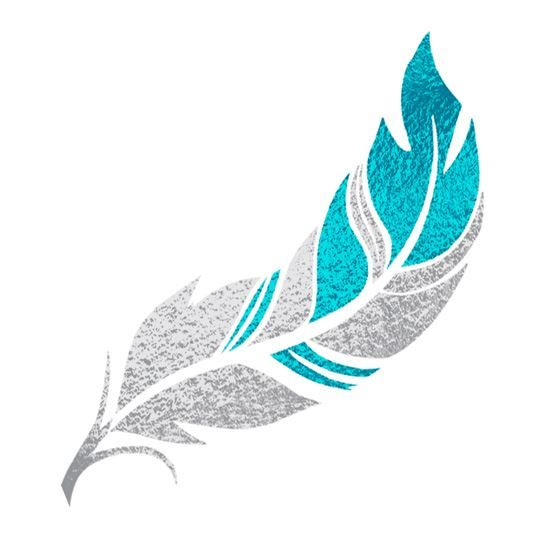 Silver and Teal Feather Design Water Transfer Temporary Tattoo(fake Tattoo) Stickers NO.14237