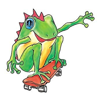 Skateboarding Frog Design Water Transfer Temporary Tattoo(fake Tattoo) Stickers NO.13899