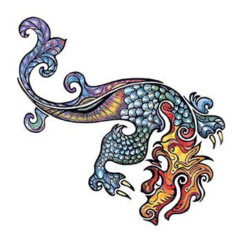 Small Dragon Design Water Transfer Temporary Tattoo(fake Tattoo) Stickers NO.11900