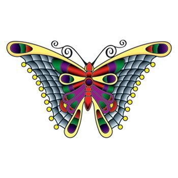 Stained Glass Butterfly Design Water Transfer Temporary Tattoo(fake Tattoo) Stickers NO.13653