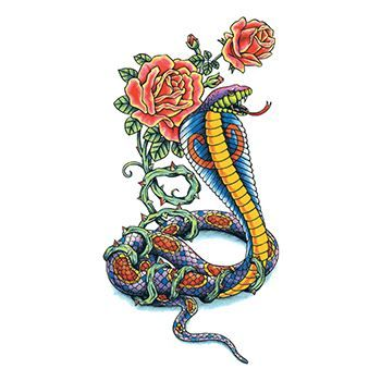 Traditional Cobra with Flowers Design Water Transfer Temporary Tattoo(fake Tattoo) Stickers NO.13663
