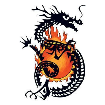 Traditional Flaming Dragon Design Water Transfer Temporary Tattoo(fake Tattoo) Stickers NO.11857