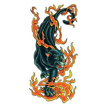 Traditional Flaming Panther Design Water Transfer Temporary Tattoo(fake Tattoo) Stickers NO.13666
