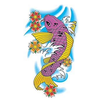 Traditional Koi Fish Design Water Transfer Temporary Tattoo(fake Tattoo) Stickers NO.11860