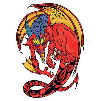Traditional Red and Yellow Dragon Design Water Transfer Temporary Tattoo(fake Tattoo) Stickers NO.11845