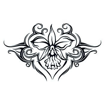Tribal Orchid Lower Back Design Water Transfer Temporary Tattoo(fake Tattoo) Stickers NO.12473
