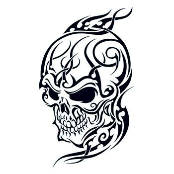 Tribal Skull Design Water Transfer Temporary Tattoo(fake Tattoo) Stickers NO.12119