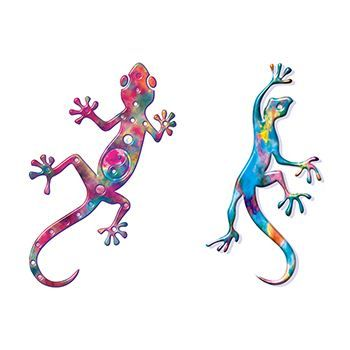 Two Geckoss Design Water Transfer Temporary Tattoo(fake Tattoo) Stickers NO.13600