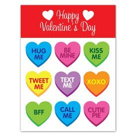 Valentine's Day Conversation Hearts Design Water Transfer Temporary Tattoo(fake Tattoo) Stickers NO.13456