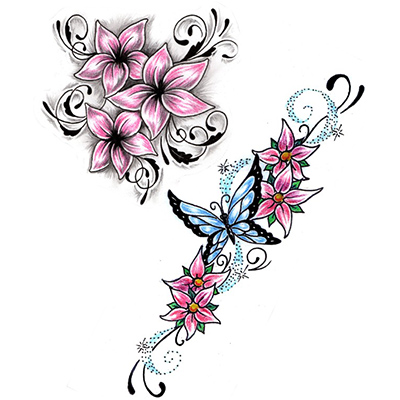 Free Lower Back Flowers Vine Design Fake Temporary Water Transfer Tattoo Stickers NO.10661