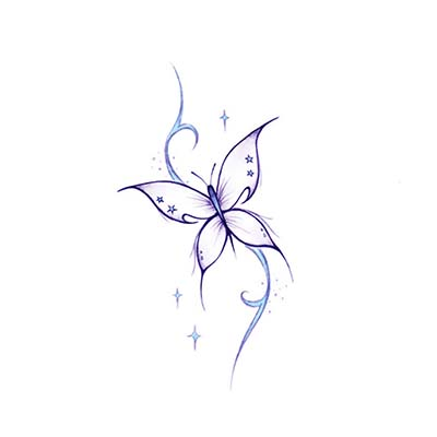 Violet Butterflies Ankle Design Fake Temporary Water Transfer Tattoo Stickers NO.10669