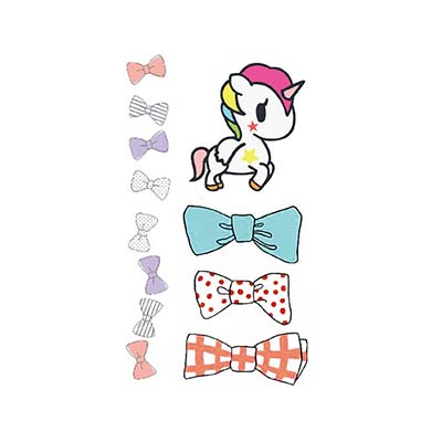 5pcs colorful cute design cartoon horse bow tie Fake Temporary Water Transfer Tattoo Stickers NO.10675