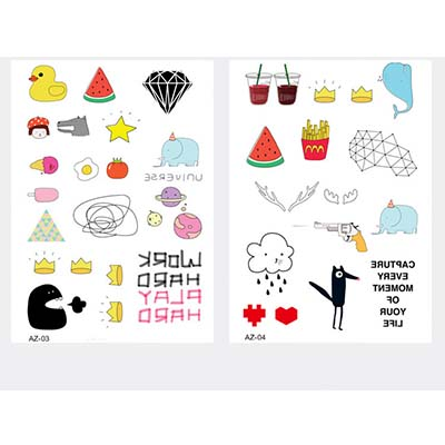 6pcs Cartoon kid cute Korea finger Design Fake Temporary Water Transfer Tattoo Stickers NO.10676