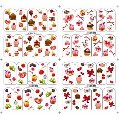 Cute Cake Design Water Transfer Nail Decals Nail Art for Ladies For Women Fake Temporary Water Transfer Tattoo Stickers NO.10677