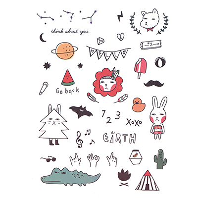 Cute waterproof Design Water Transfer Temporary Tattoo(fake Tattoo) Stickers NO.10684