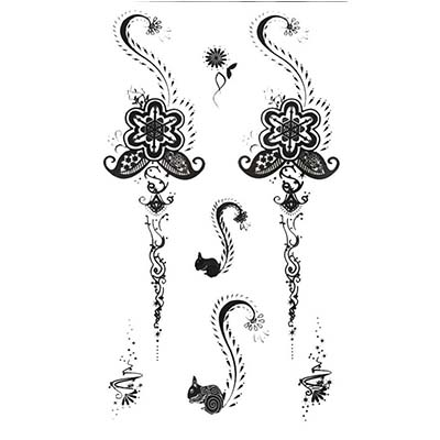 Floweral Cute Squirrel Black Henna Henna for Body Art designs Temporary Water Transfer Tattoo Stickers NO.10674