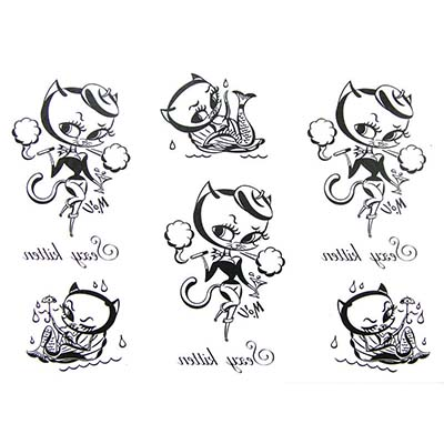 Funny caterpillar cute font b mermaid Design Water Transfer Temporary Tattoo(fake Tattoo) Stickers NO.10680