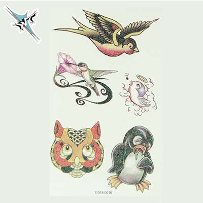Newly Design Colorful Waterproof Fashion Cute Birds And Owl Pattern Body Shoulder Water Transfer Temporary Tattoo(fake Tattoo) Stickers NO.10686