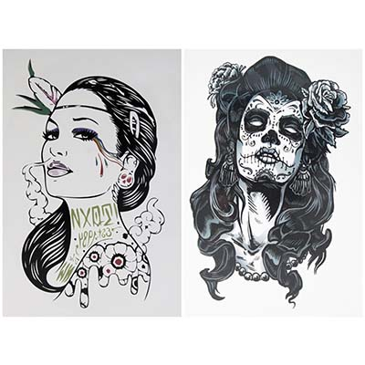 2-pcs Smoke Gangster Women Gangste Rose Design Water Transfer Temporary Tattoo(fake Tattoo) Stickers NO.10690
