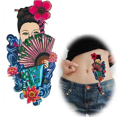 Chinese Ancient costume women design flower Water Transfer Temporary Tattoo(fake Tattoo) Stickers NO.10694
