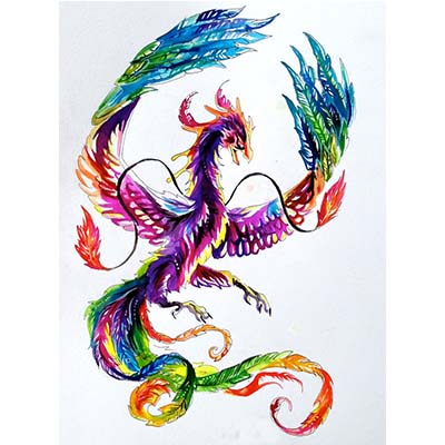 Colorful Japanese Phoenix On Ankle Design Water Transfer Temporary Tattoo(fake Tattoo) Stickers NO.10697