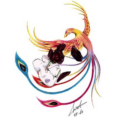 Cracked woman mask and colorful phoenix Design Water Transfer Temporary Tattoo(fake Tattoo) Stickers NO.10699