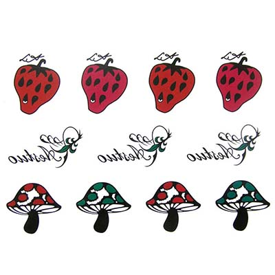 Cute caterpillar mushroom strawberry cute Design Water Transfer Temporary Tattoo(fake Tattoo) Stickers NO.10701