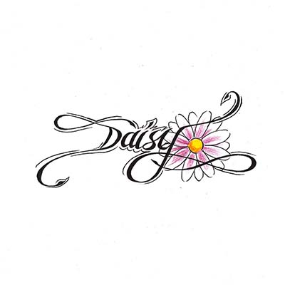 Daisy Flower Feminine On Back Design Water Transfer Temporary Tattoo(fake Tattoo) Stickers NO.10702