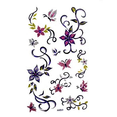 Feminine Arm waist back body butterfly flower butterfly Red blue Design Water Transfer Temporary Tattoo(fake Tattoo) Stickers NO.10729