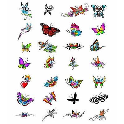 Feminine Butterfly n Heart Design Water Transfer Temporary Tattoo(fake Tattoo) Stickers NO.10705