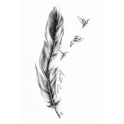 Feminine Feather Design Water Transfer Temporary Tattoo(fake Tattoo) Stickers NO.10709