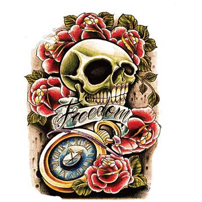 Feminine Skull large Design Water Transfer Temporary Tattoo(fake Tattoo) Stickers NO.10749