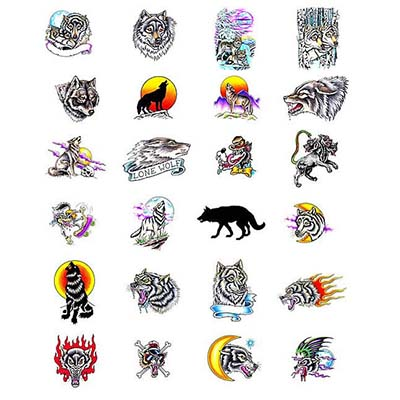 Feminine Wolf Design Water Transfer Temporary Tattoo(fake Tattoo) Stickers NO.10724