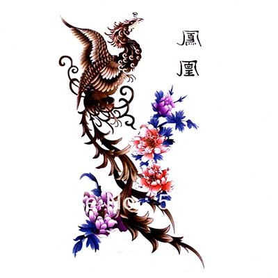 Feminine arm waist back chest Phoenix with Peony Chinese letter Design Water Transfer Temporary Tattoo(fake Tattoo) Stickers NO.10730