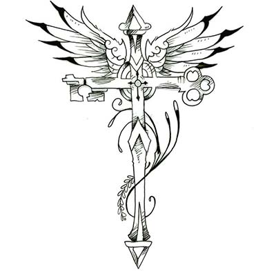 Feminine key cross Design Water Transfer Temporary Tattoo(fake Tattoo) Stickers NO.10733