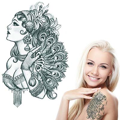 Noble Feminine for Women Girls Phoenix lupine Lady Design Water Transfer Temporary Tattoo(fake Tattoo) Stickers NO.10740