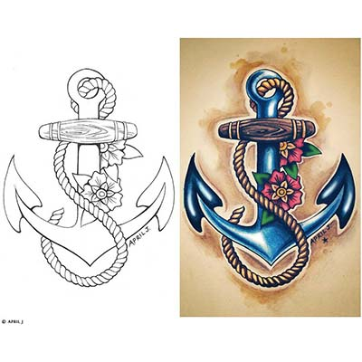 Anchor Foot Design Water Transfer Temporary Tattoo(fake Tattoo) Stickers NO.10759