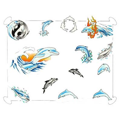 Celtic Dolphin Foot Design Water Transfer Temporary Tattoo(fake Tattoo) Stickers NO.10766