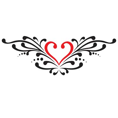 Heart Lower Back Design Water Transfer Temporary Tattoo(fake Tattoo) Stickers NO.10794