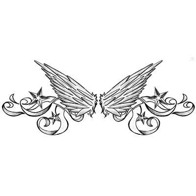 Nautical stars and wings lowerback design Water Transfer Temporary Tattoo(fake Tattoo) Stickers NO.10805