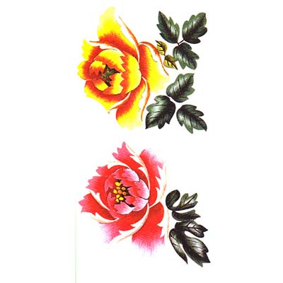 Disposable body painting women waterproof peony Design Water Transfer Temporary Tattoo(fake Tattoo) Stickers NO.10833