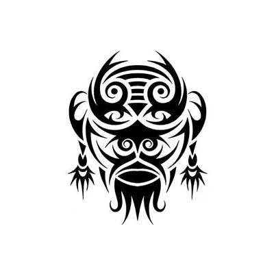 Tribal african mask Design Water Transfer Temporary Tattoo(fake Tattoo) Stickers NO.10843